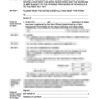 Regulated tenancy rent increase form