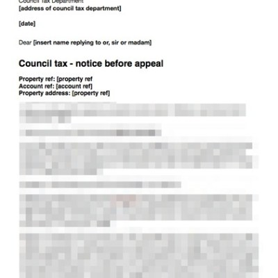 Council tax letter before appeal more detailed