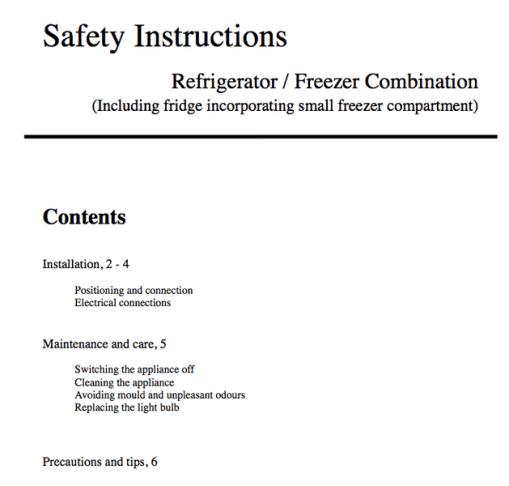 Generic instructions for a fridge freezer