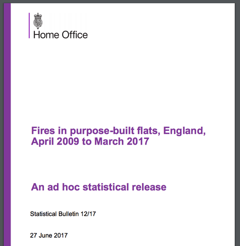 Home Office Issues Tower Block Fire Stats