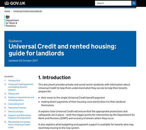 Updated Universal Credit Guidance for Landlords