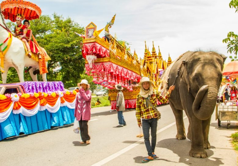 An elephant in a parade
