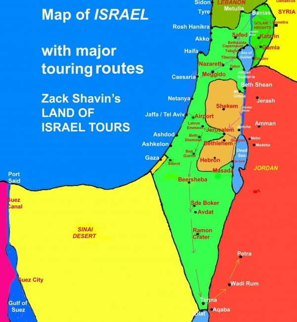 Map of Israel: General Touring Routes