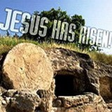 Biblical rock cut tomb with rolling stone like that of Jesus at Calvary