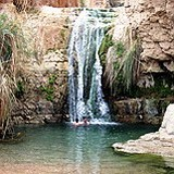 Swimming at Nahal David canyon at Ein Gedi