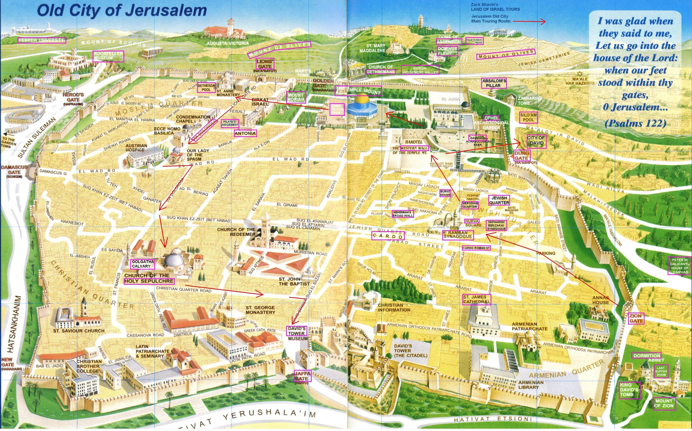 Old City Jerusalem Map Jerusalem Map: Old City touring route