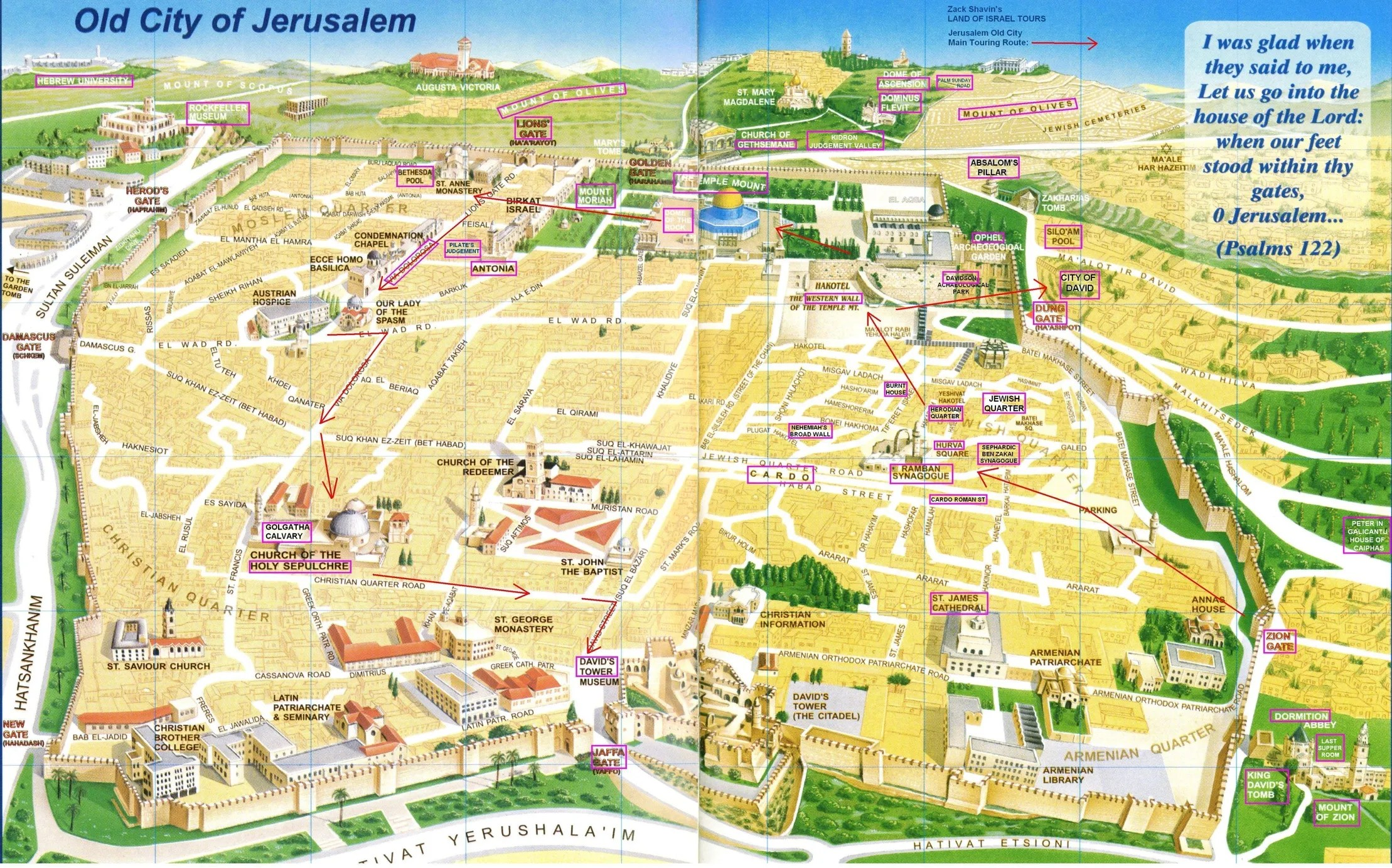 Jerusalem Map Old City Touring Route - Jerusalem map world