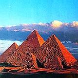 Great pyramids of Giza: Khufu (Cheops), Khafre (Chephren), & Menkaure