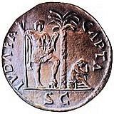 Roman Judea Capta coin commemorating defeat of Jews in Judea by Titus in 70 CE