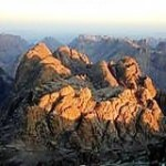 Sinai wilderness at sunrise from Mount Sinai (Jebel Musa)