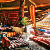 Traditional bedouin tent wedding feast