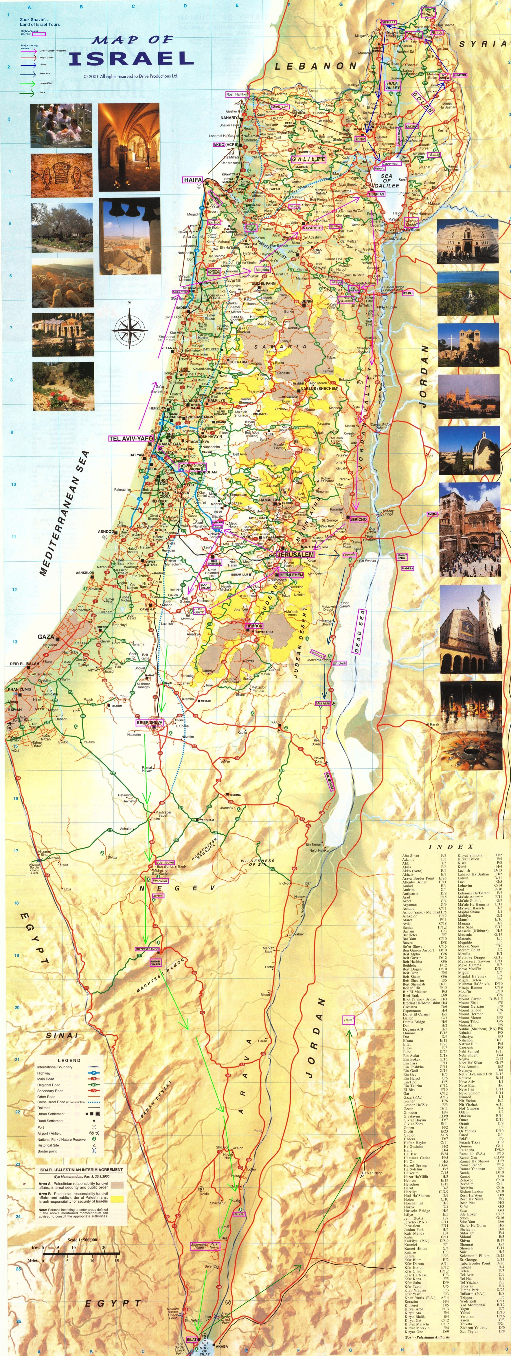 Map of Israel: Detailed Touring Routes
