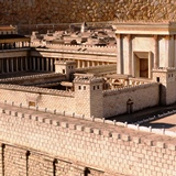 Scale model of Holy Temple Jerusalem with colonnaded portico around Outer Court in Jerusalem's Holy Temple
