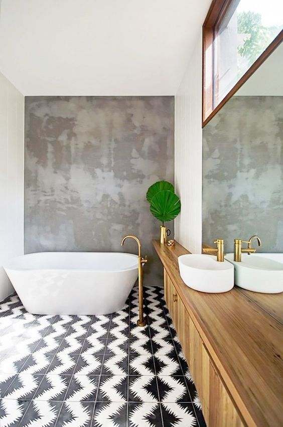 Bath trend: Patterned Tile Floors