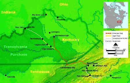The Backcountry     Map showing the Cumberland Gap