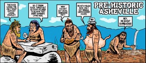 """Prehistoric Asheville"" cartoon ©2018 - Brent Brown"