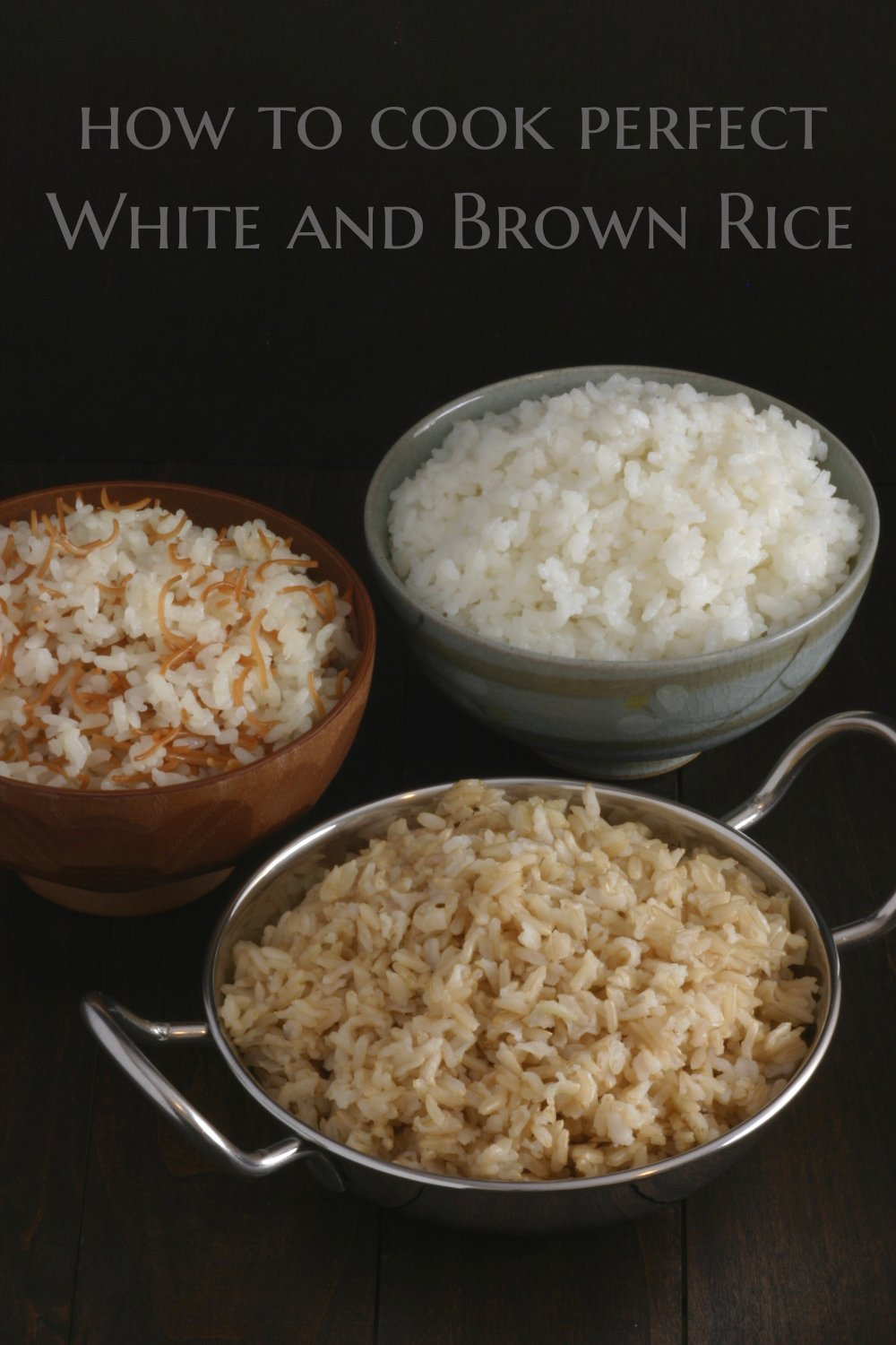 A how-to recipe for cooking the perfect pot of basic white and brown rice.