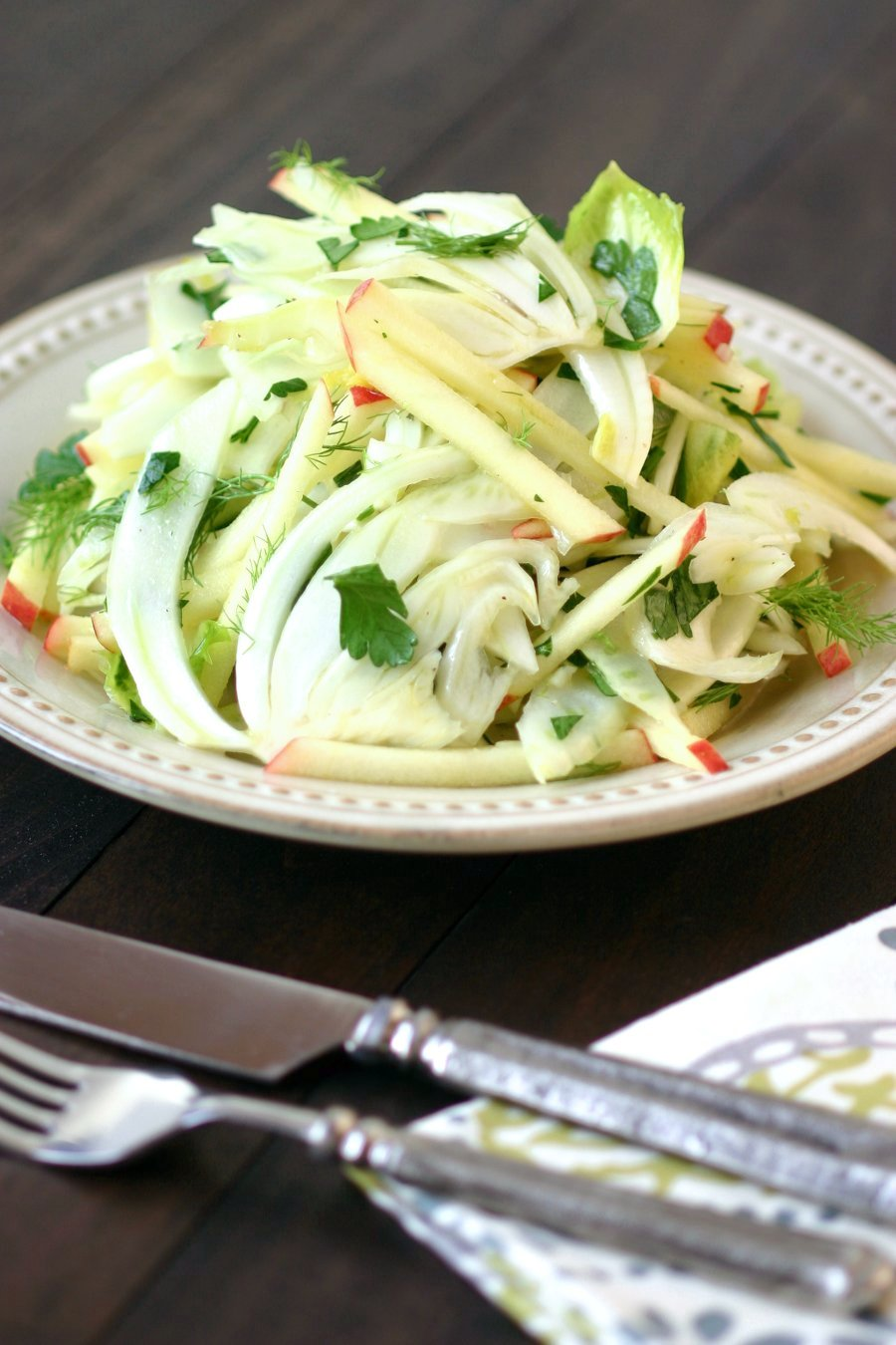This light, crunchy, and refreshing recipe for Fennel Apple Salad with Endive combines fragrant fresh fennel with sweet-tart apples.