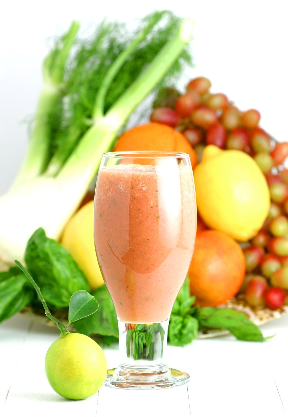 This Sicilia Smoothie features the bright flavors of its island namesake: juicy oranges, sour grapefruit, refreshing fennel, sweet grapes, and fragrant basil.