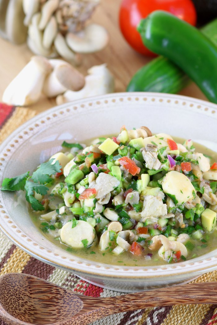 Mushroom ceviche lands flavors a fish free version of a favorite dish throughout latin america this vegan mushroom forumfinder Images