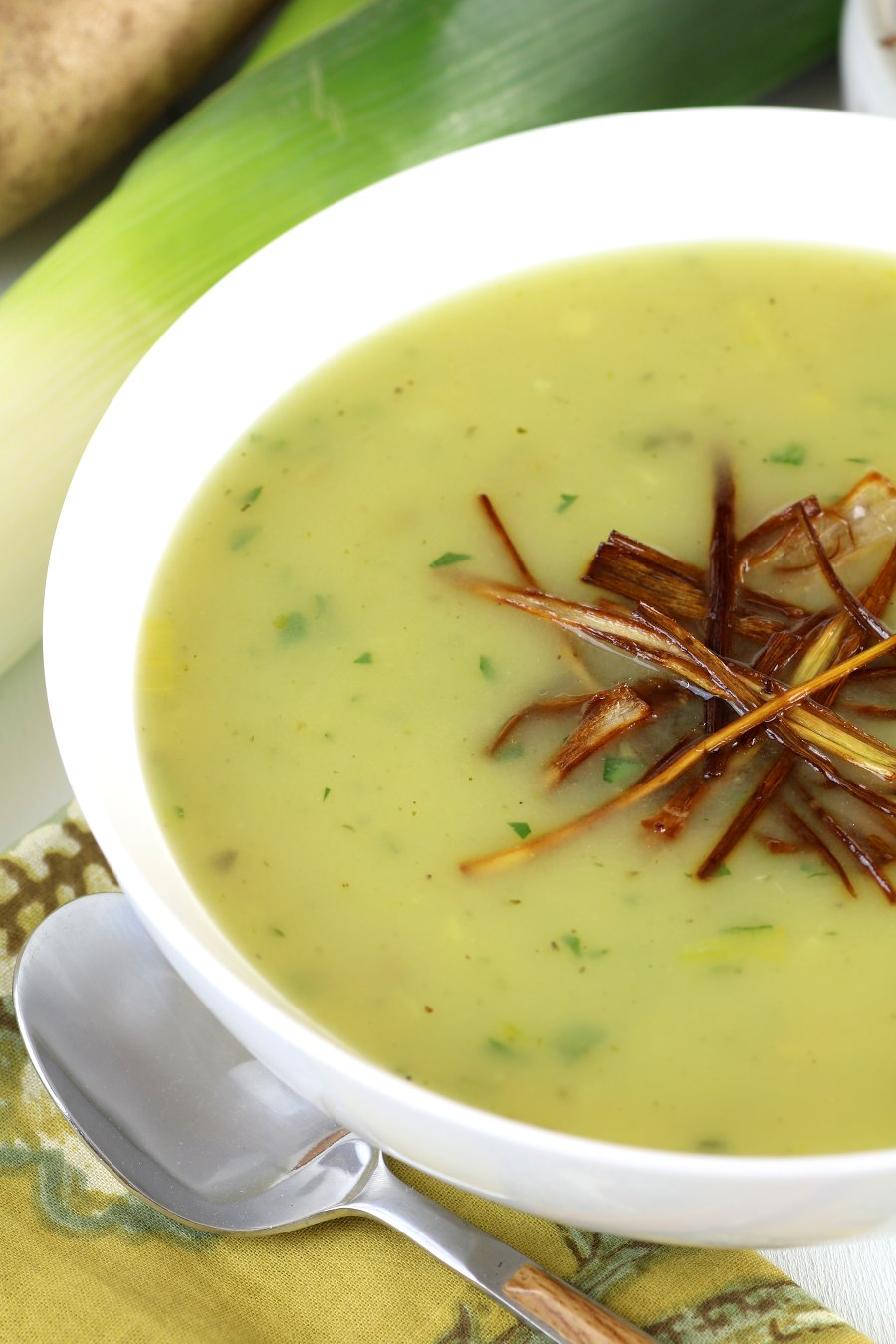 This velvety Vegan Potato and Leek Soup is a quick and easy soup that employs the natural creaminess of potatoes. Gluten-free and nut-free, too!