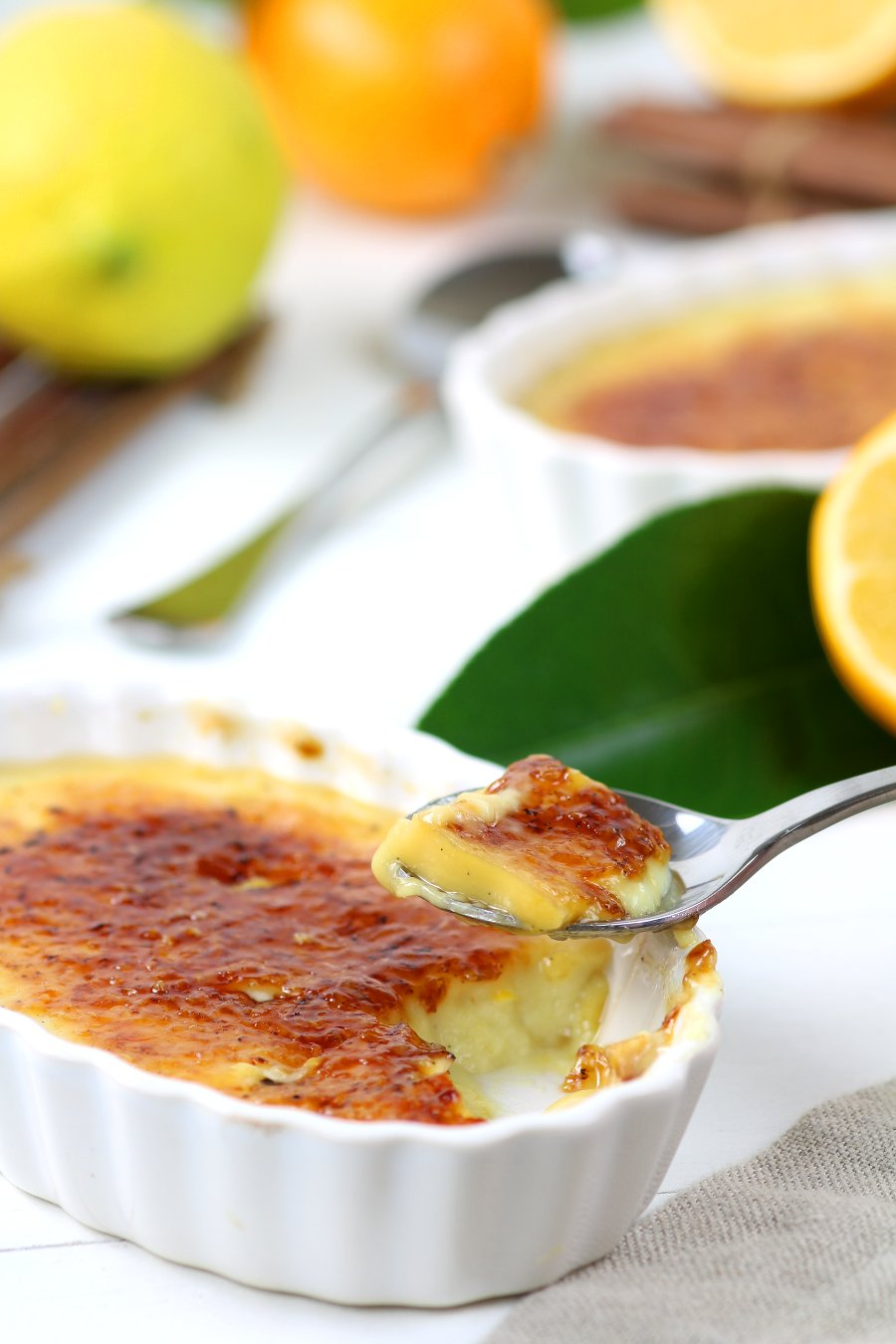 Use your spoon to shatter the caramel crackle topping of this Vegan Meyer Lemon Crème Brûlée and reveal the custardy and lemony dessert underneath!