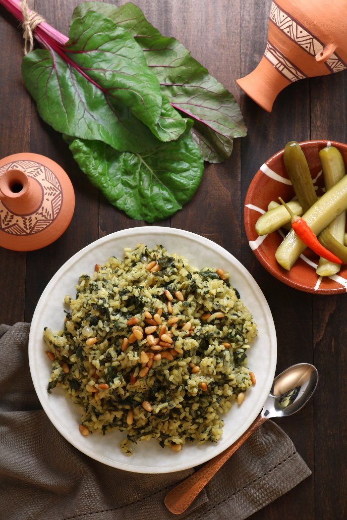 Filling, nutritious, and aromatic Swiss Chard Rice Pilaf is a great way to use these delicious leafy greens!