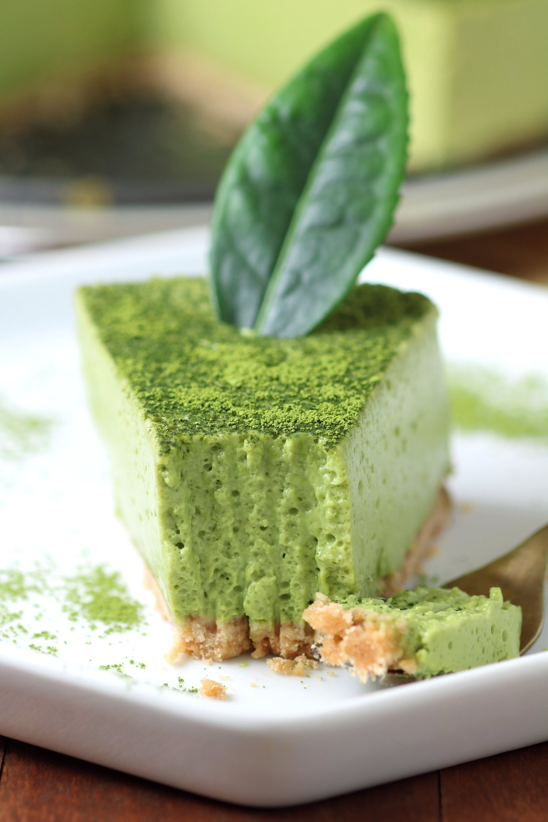 A creamy Vegan Matcha Mousse Cake with an airy, whipped texture flavored with the complex taste of Japanese matcha green tea powder.