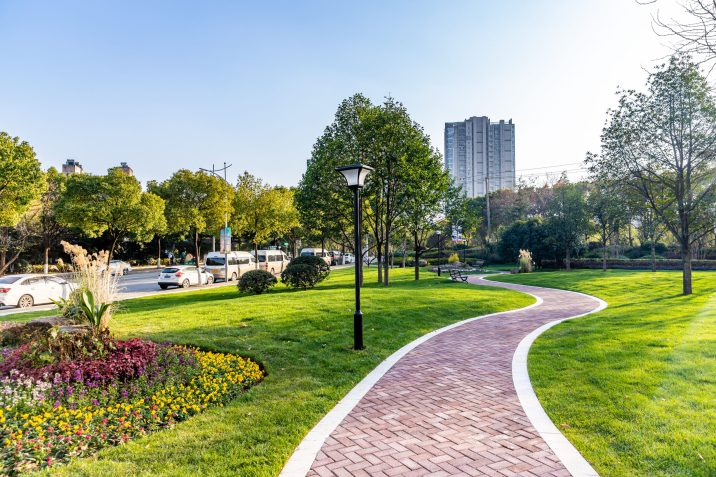 modern building and beautiful park, china