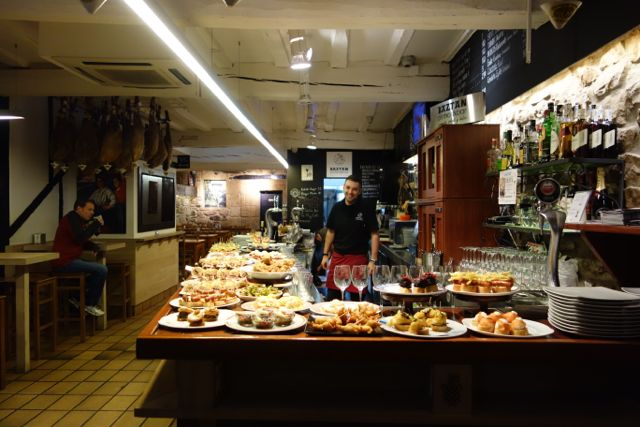 A typical bar festooned with pintxos (Basque-style tapas)