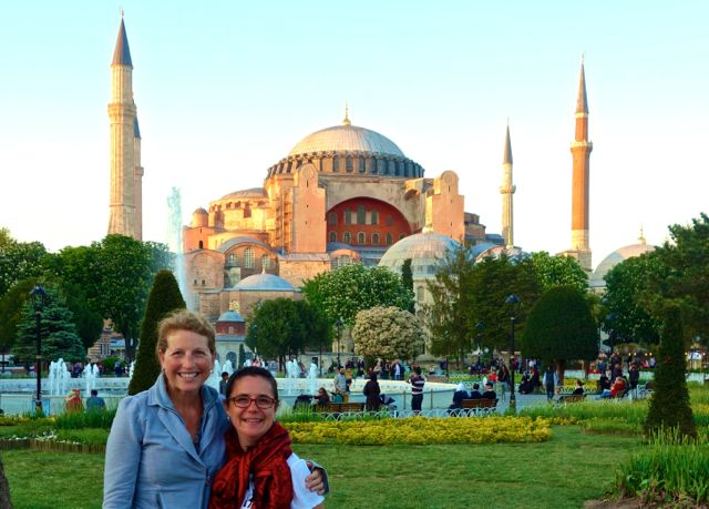 two people in front of the Hagia Sophia