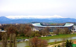 The Zheden mountain range overlooks the Philip II Arena from the west