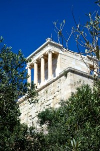 Temple of Nike through the olive trees