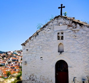 Old church with Poros in background