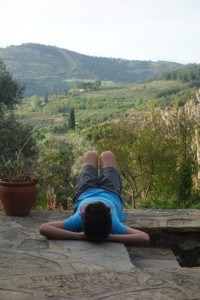 Marco chillaxing over the vineyards in Sirinje