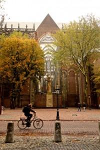 Ubiquitous bike commuter in Utrecht
