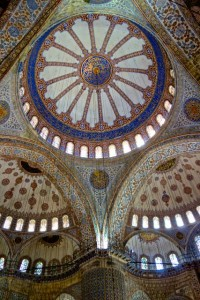 The impressive interior of the Blue Mosque
