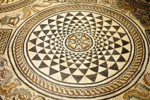 Roman mosaic now found in the Gallo-Roman Museum