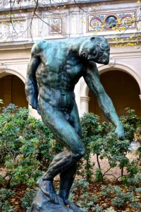 Rodin in the garden of the Museum of Fine Arts