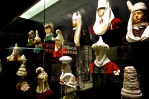 Traditional Basque headware displayed at the Basque Museum
