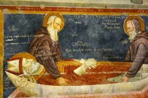Fresco with medieval graffiti