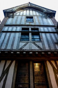 Traditional half-timbered houses line the streets in Mont Saint Michel