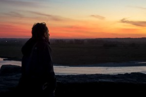 Aaron enjoying a fabulous neon sunset