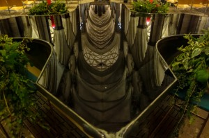 Baptismal font reflecting the high gothic ceiling of Salisbury Cathedral