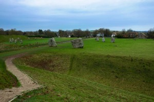 A view of the Avebury stones encircling part of the village