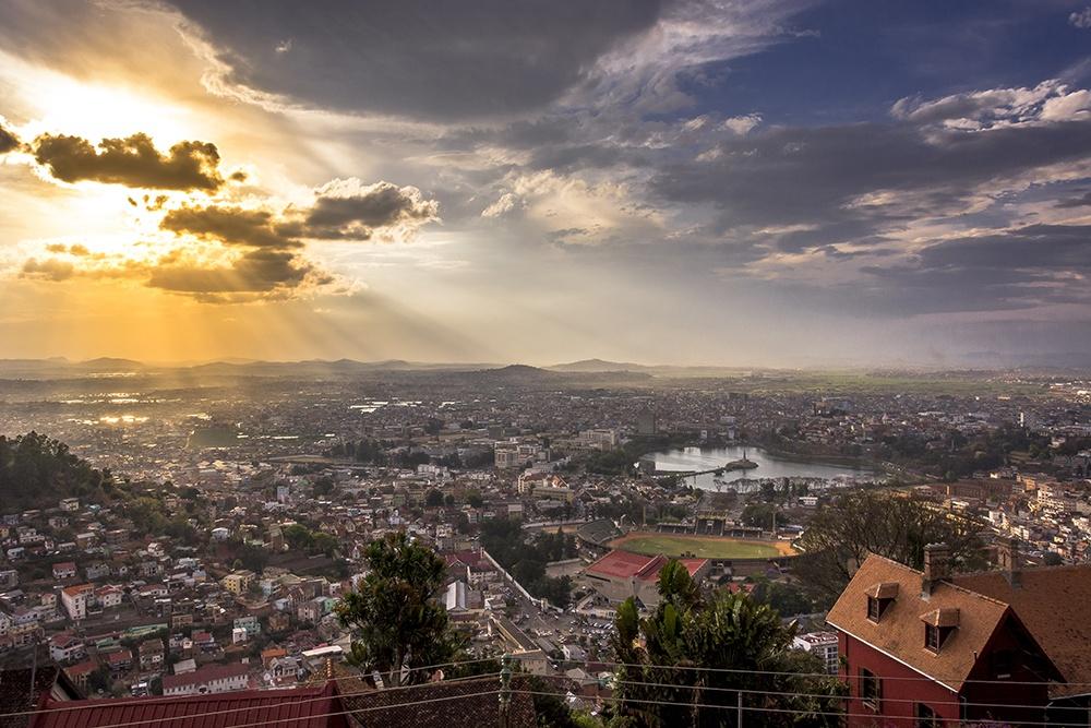 Paisagem da cidade de Antananarivo vista do Palácio da Rainha