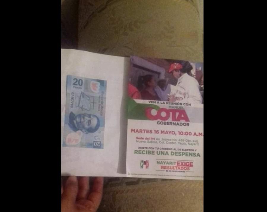 Voto por $20 pesos enfrenta a PRI y PAN en Nayarit