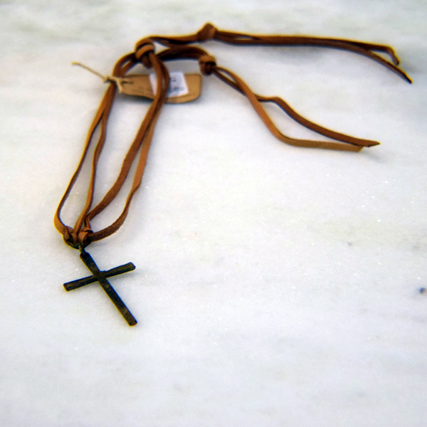 Rusty Cross Necklace with Leather Strap