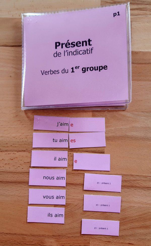 Conjugaison Montessori ; matériel autocorrectif