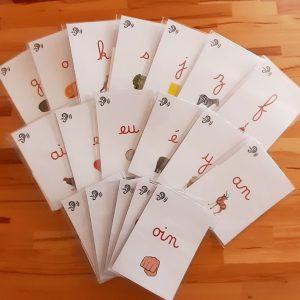 Lecture Montessori; lecture du mot Montessori; petits livres des phonèmes ; pochettes d'homophonies
